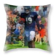 Chicago Bears Wr Josh Morgan Training Camp 2014 Pa 01 Throw Pillow