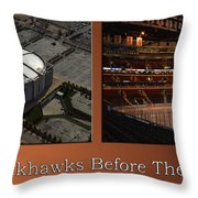 Chicago Blackhawks Before The Gates Open Interior 2 Panel Tan Throw Pillow