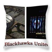 Chicago Blackhawks United Center 2 Panel White Signage Throw Pillow