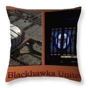 Chicago Blackhawks United Center Signage 2 Panel Tan Throw Pillow