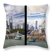 Chicago Buckingham Fountain 2 Panel Looking West And North Black Throw Pillow