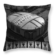 Chicago Bulls Banners In Black And White Throw Pillow by Thomas Woolworth