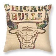 Chicago Bulls Logo Vintage Throw Pillow