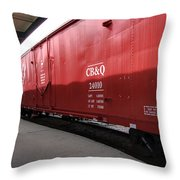 Chicago Burlington Quincy Freight Cars Throw Pillow