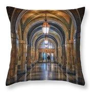 Chicago City Hall 1st Floor Hallway Area Hdr 01 Throw Pillow