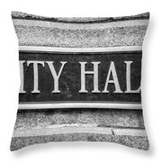 Chicago City Hall Sign In Black And White Throw Pillow