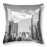 Chicago Cityscape Black And White Picture Throw Pillow by Paul Velgos