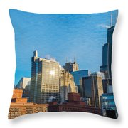 Chicago Cityscape During The Day Throw Pillow