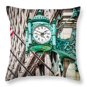 Chicago Clock On Macy's Marshall Field's Building Throw Pillow