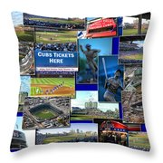 Chicago Cubs Collage Throw Pillow