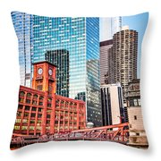 Chicago Downtown At Lasalle Street Bridge Throw Pillow