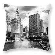 Chicago Downtown At Michigan Avenue Bridge Picture Throw Pillow