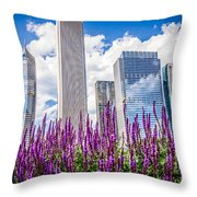 Chicago Downtown Buildings And Spring Flowers Throw Pillow