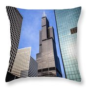 Chicago Downtown City Buildings With Willis-sears Tower Throw Pillow