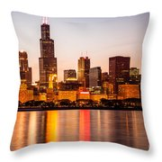 Chicago Downtown City Lakefront With Willis-sears Tower Throw Pillow