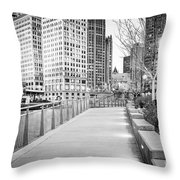 Chicago Downtown City Riverwalk Throw Pillow
