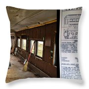 Chicago Eastern Il Rr Business Car Restoration With Blue Print Throw Pillow