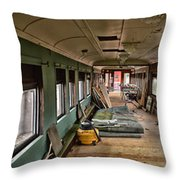 Chicago Eastern Il Rr Car Restoration With Blue Print Throw Pillow
