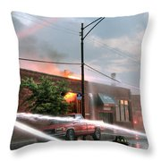 Chicago Firemen At Work Throw Pillow