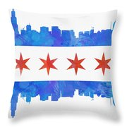 Chicago Flag Watercolor Throw Pillow