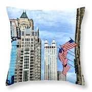 Chicago - Flags Along Michigan Avenue Throw Pillow