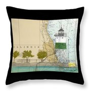 Chicago Harbor Se Guidewall Lighthouse Il Nautical Chart Art Throw Pillow