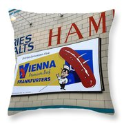Chicago Hot Dog Joint Throw Pillow