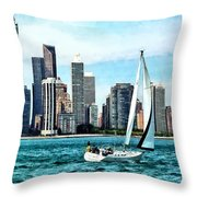 Chicago Il - Sailboat Against Chicago Skyline Throw Pillow