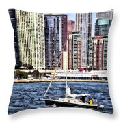 Chicago Il - Sailing On Lake Michigan Throw Pillow