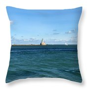 Chicago Illinois Harbor Lighthouse And Little Lady Tour Boat Usa Throw Pillow