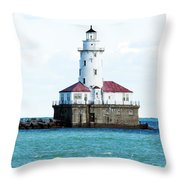 Chicago Illinois Harbor Lighthouse Close Up Usa Throw Pillow