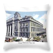 Chicago Illinois - Northwestern Railroad Station - 1927 Throw Pillow