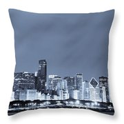 Chicago In Blue Throw Pillow