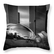 Cloud Gate Aka Bean In Black And White Throw Pillow