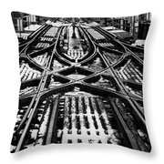 Chicago 'l' Tracks Winter Throw Pillow