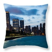 Chicago Lake Front At Blue Hour Throw Pillow
