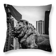 Chicago Lion Statues In Black And White Throw Pillow