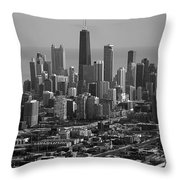 Chicago Looking East 01 Black And White Throw Pillow
