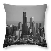 Chicago Looking East 02 Black And White Throw Pillow