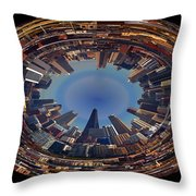 Chicago Looking East Polar View Throw Pillow by Thomas Woolworth