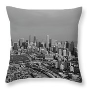 Chicago Looking North 01 Black And White Throw Pillow