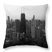 Chicago Looking South 01 Black And White Throw Pillow