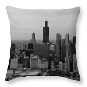 Chicago Looking West 01 Black And White Throw Pillow