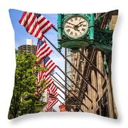 Chicago Macy's Clock And Chicago Theatre Sign Throw Pillow