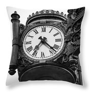 Chicago Macy's Marshall Field's Clock In Black And White Throw Pillow