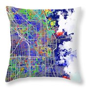 Chicago Map Color Splash Throw Pillow