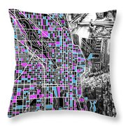 Chicago Map Drawing Collage 4 Throw Pillow
