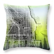 Chicago Map Gradient Throw Pillow