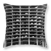 Chicago Marina City Parking Bw Throw Pillow