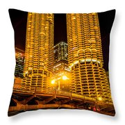 Chicago Marina City Towers At Night Picture Throw Pillow